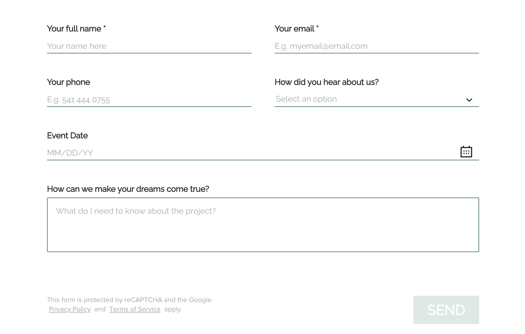 Custom Honeybook Contact Form